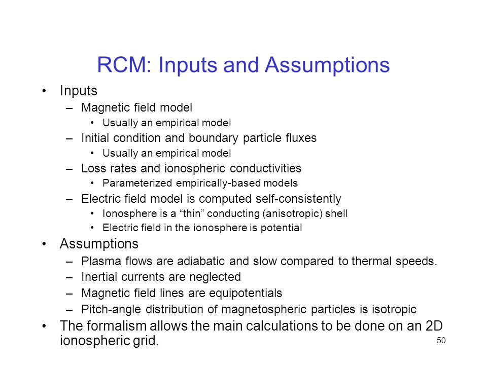 RCM: Inputs and Assumptions