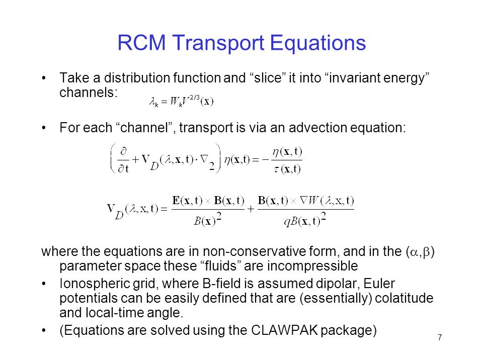 RCM Transport Equations