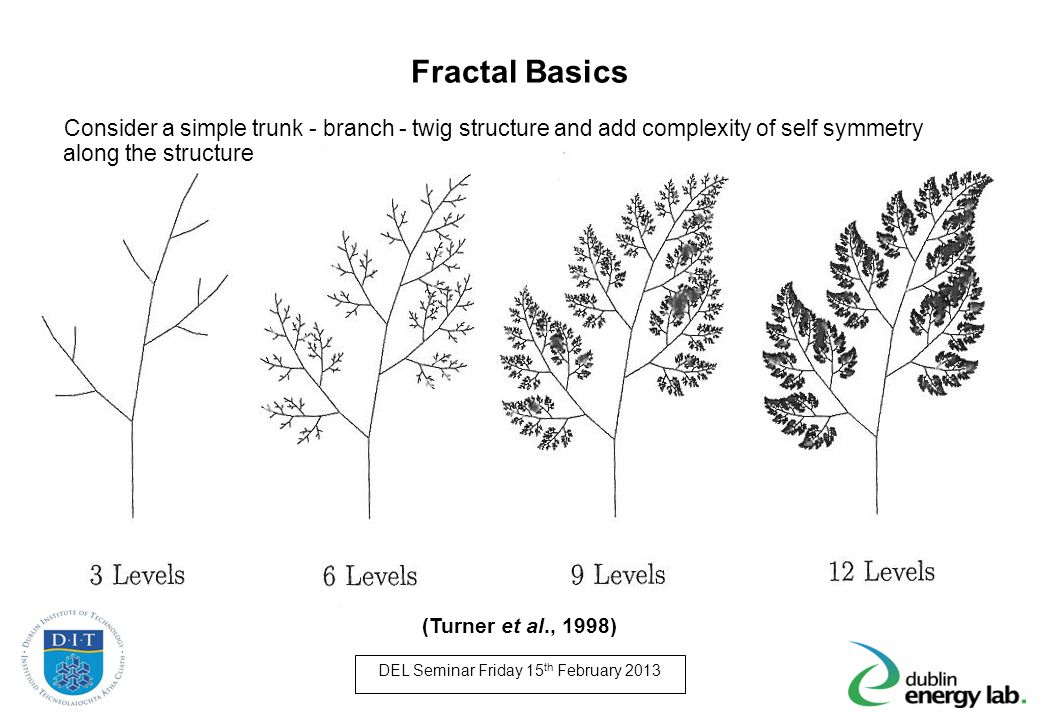 Fractal Basics Consider a simple trunk - branch - twig structure and add complexity of self symmetry along the structure.