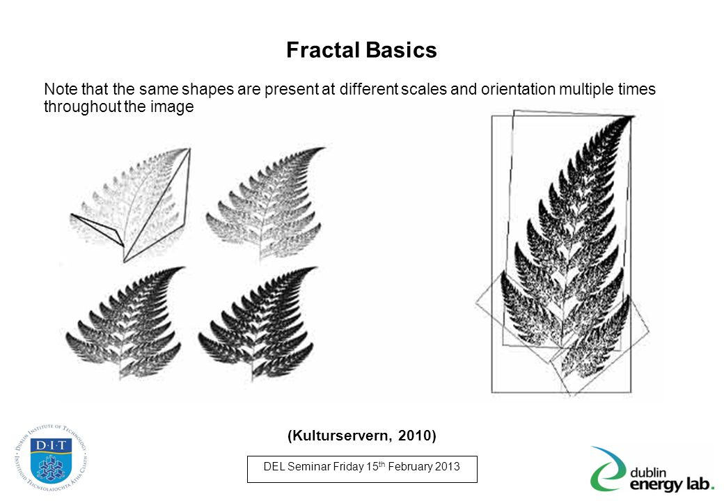 Fractal Basics Note that the same shapes are present at different scales and orientation multiple times throughout the image.