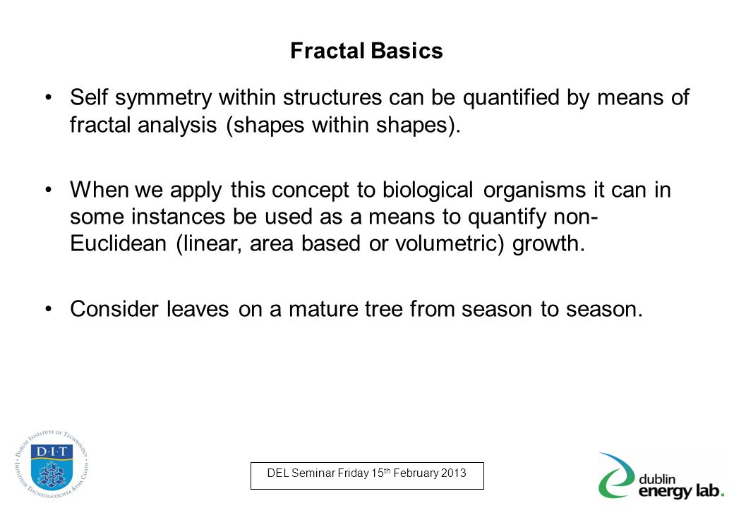 Fractal Basics Self symmetry within structures can be quantified by means of fractal analysis (shapes within shapes).