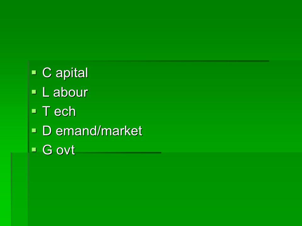C apital L abour T ech D emand/market G ovt