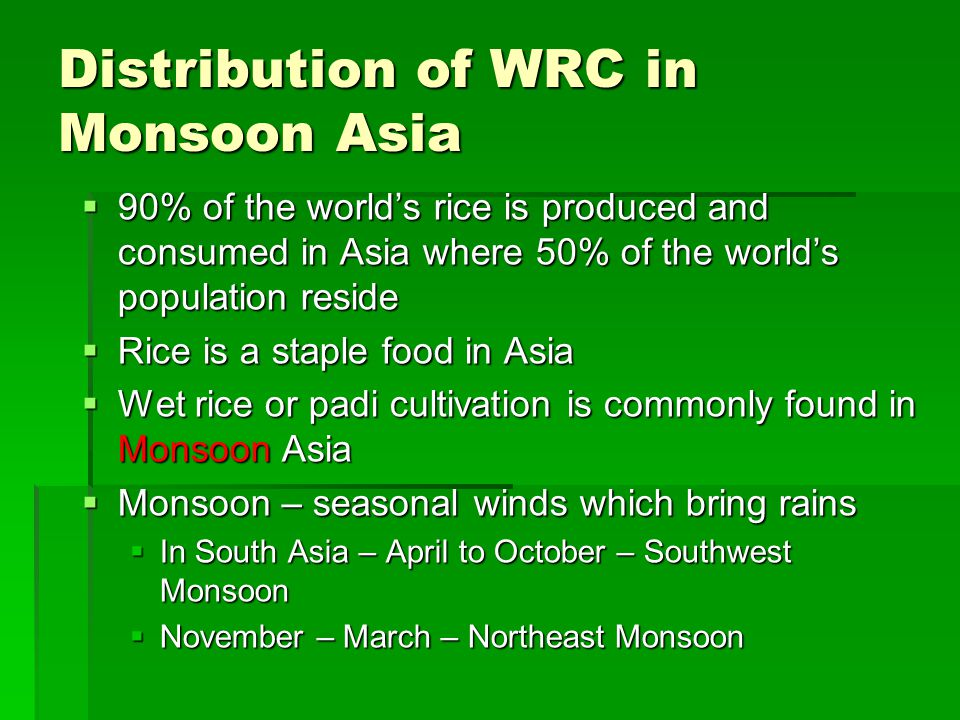 Distribution of WRC in Monsoon Asia