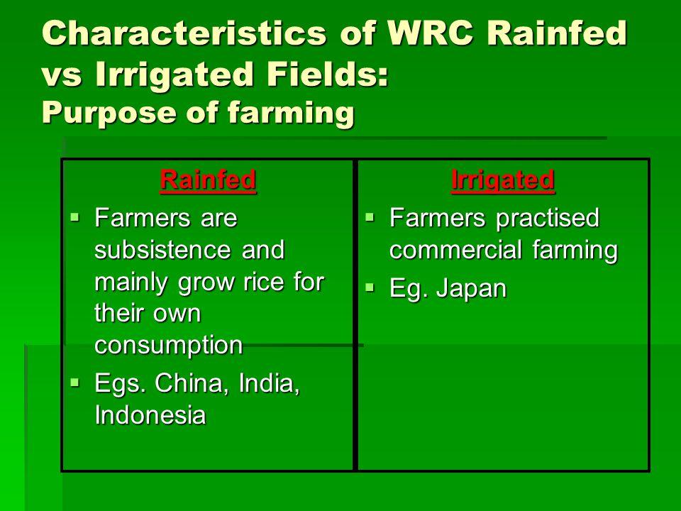 Characteristics of WRC Rainfed vs Irrigated Fields: Purpose of farming