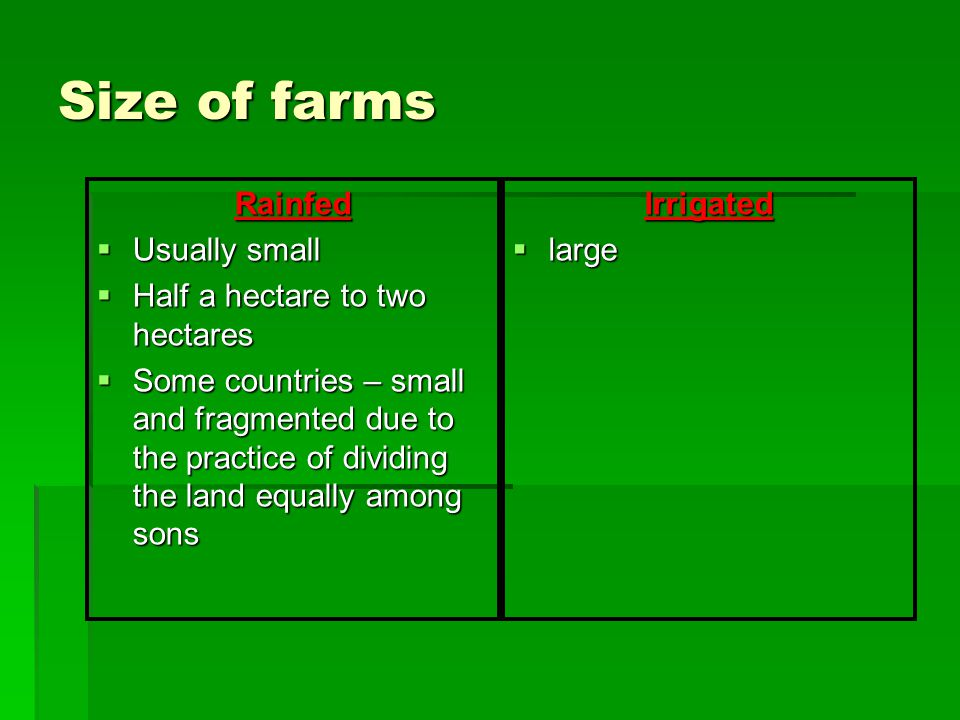 Size of farms Rainfed Usually small Half a hectare to two hectares