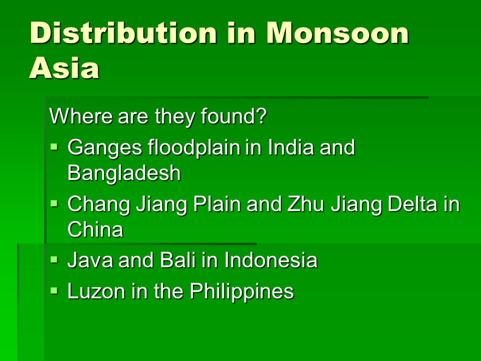 Distribution in Monsoon Asia