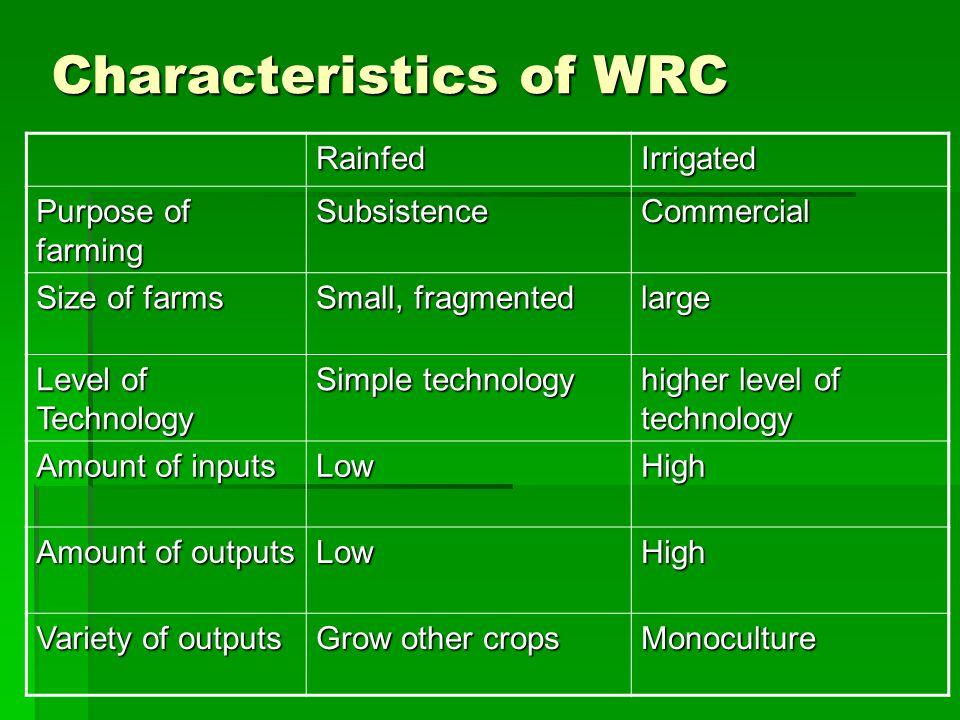 Characteristics of WRC