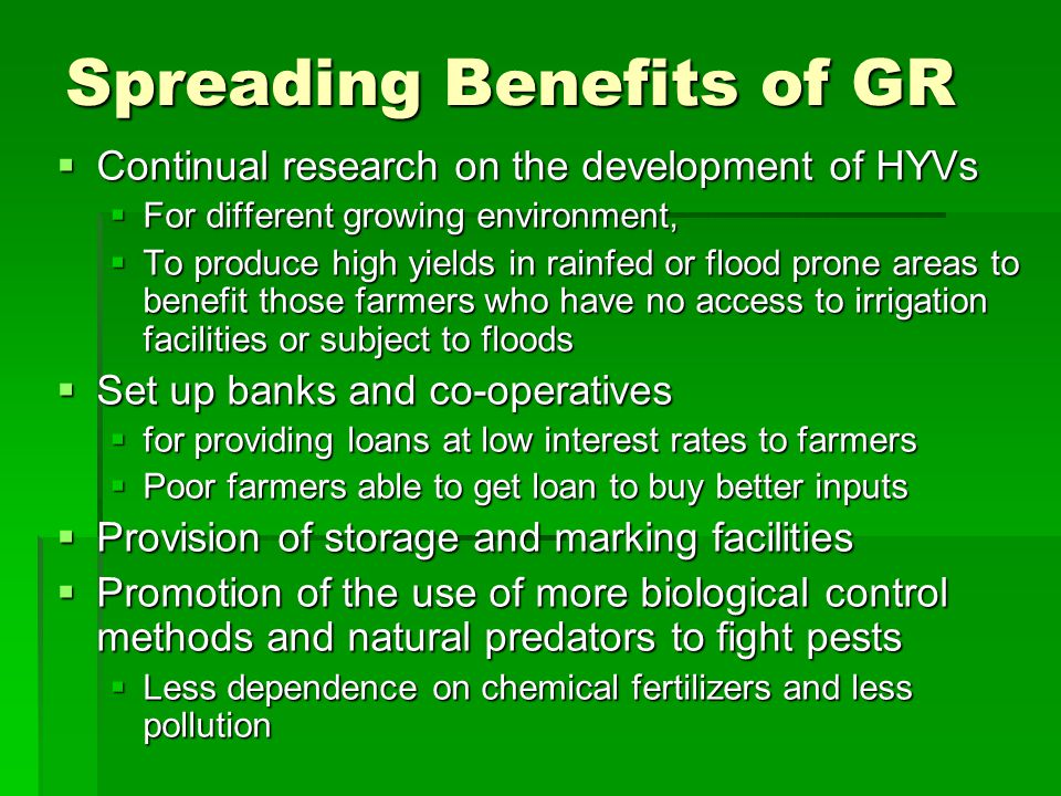 Spreading Benefits of GR
