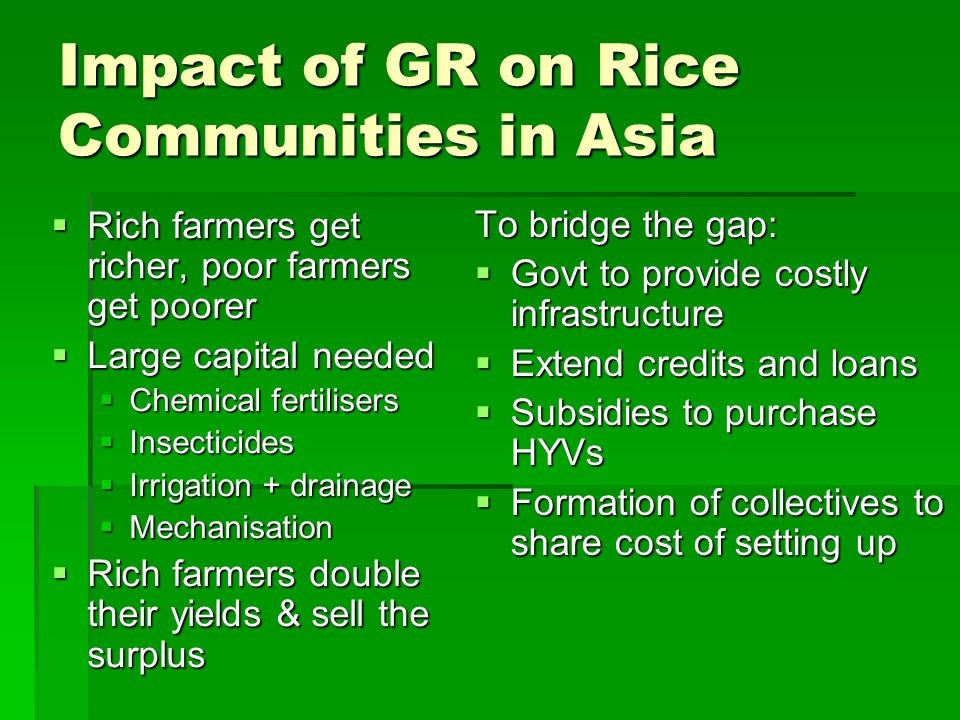 Impact of GR on Rice Communities in Asia