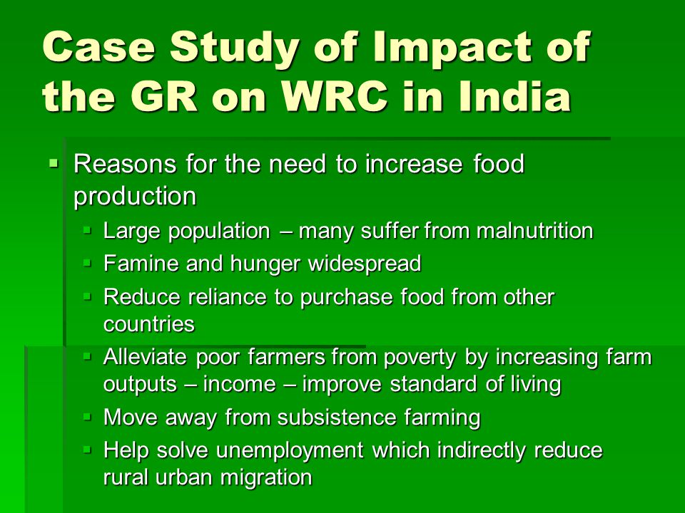 Case Study of Impact of the GR on WRC in India