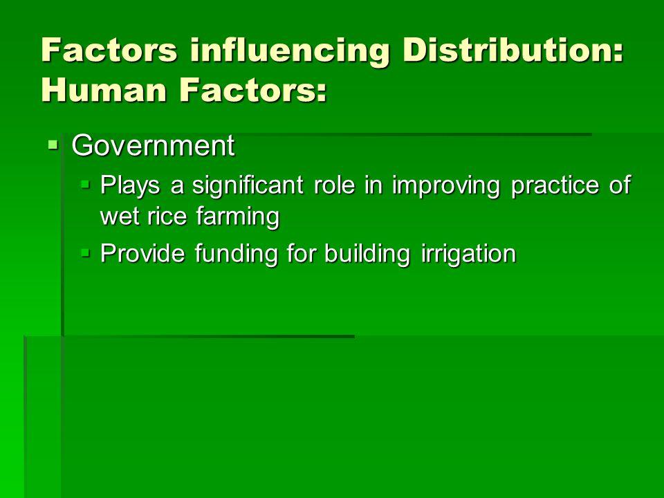 Factors influencing Distribution: Human Factors: