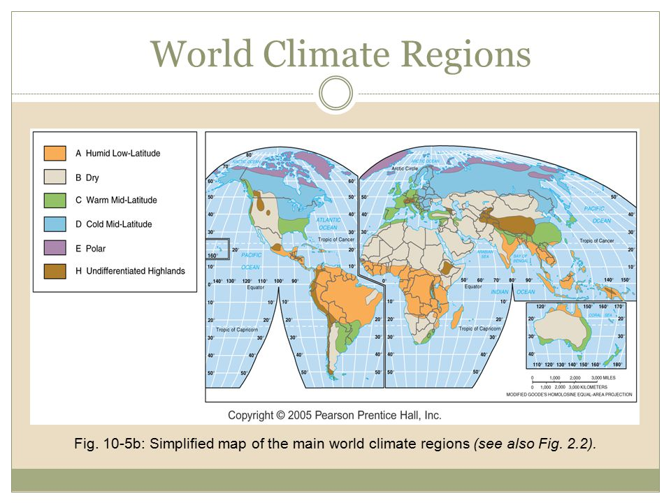 World Climate Regions Fig. 10-5b: Simplified map of the main world climate regions (see also Fig.