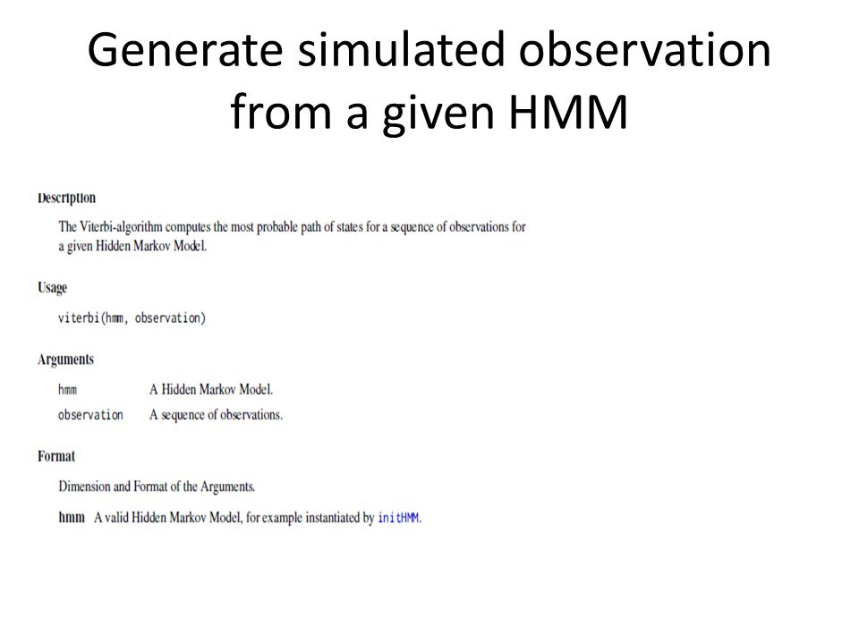 Generate simulated observation from a given HMM
