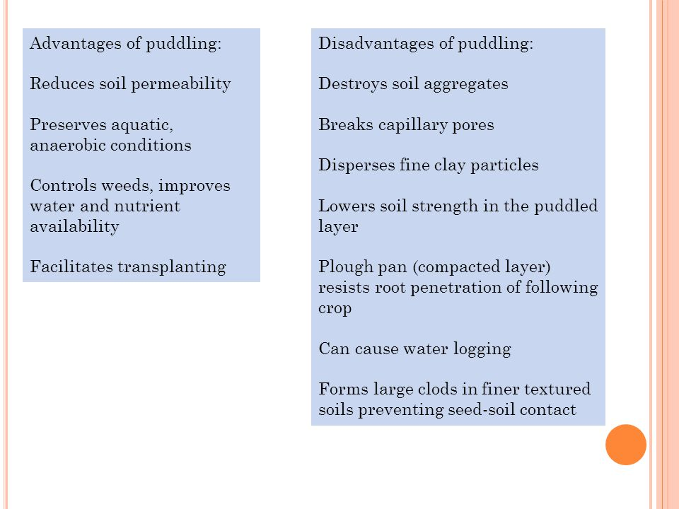 Advantages of puddling: Reduces soil permeability Preserves aquatic, anaerobic conditions Controls weeds, improves water and nutrient availability Facilitates transplanting