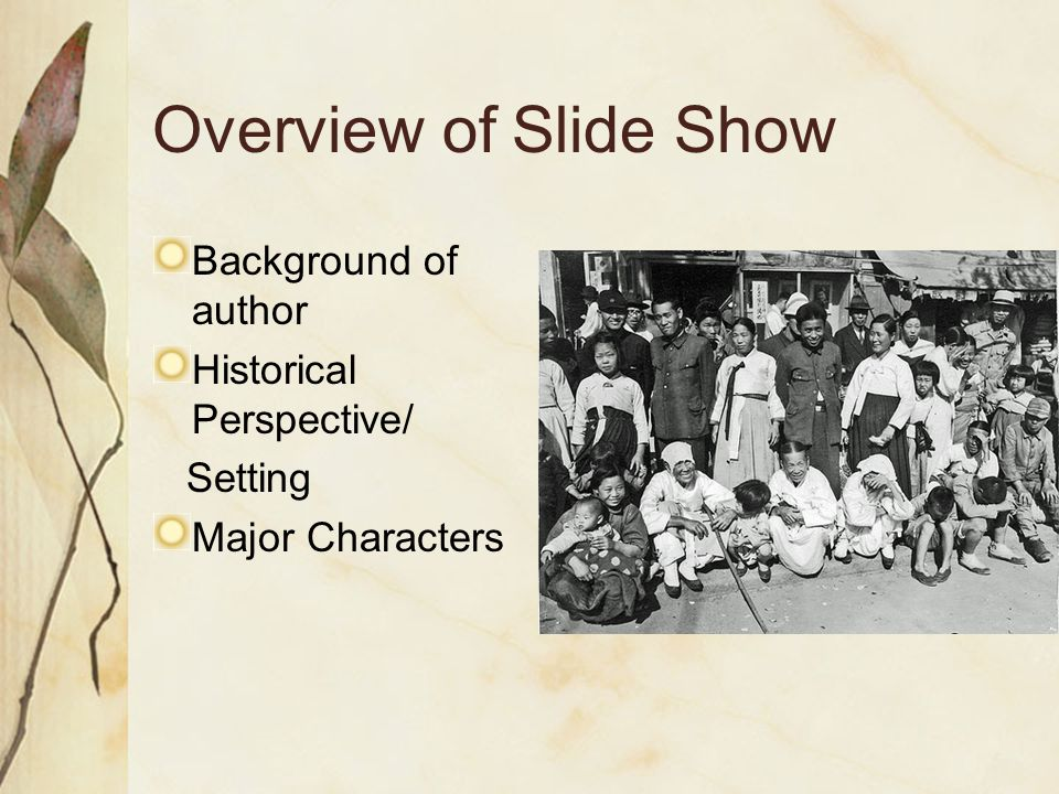 Overview of Slide Show Background of author Historical Perspective/