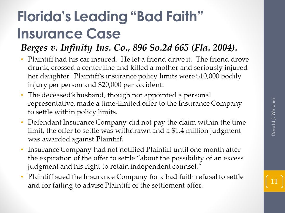 Florida's Leading Bad Faith Insurance Case