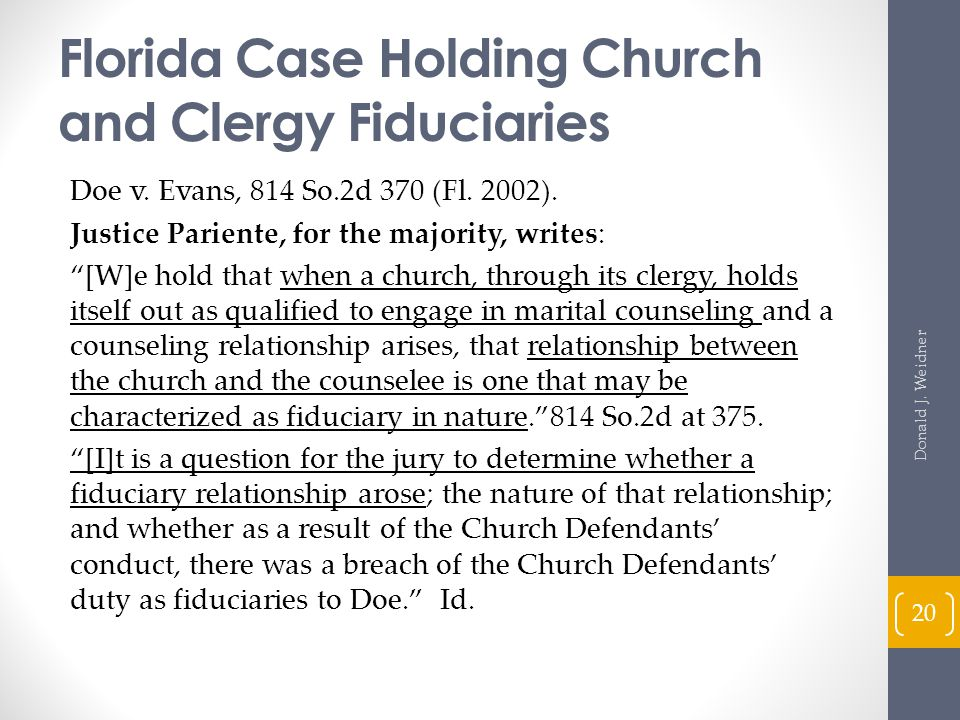 Florida Case Holding Church and Clergy Fiduciaries