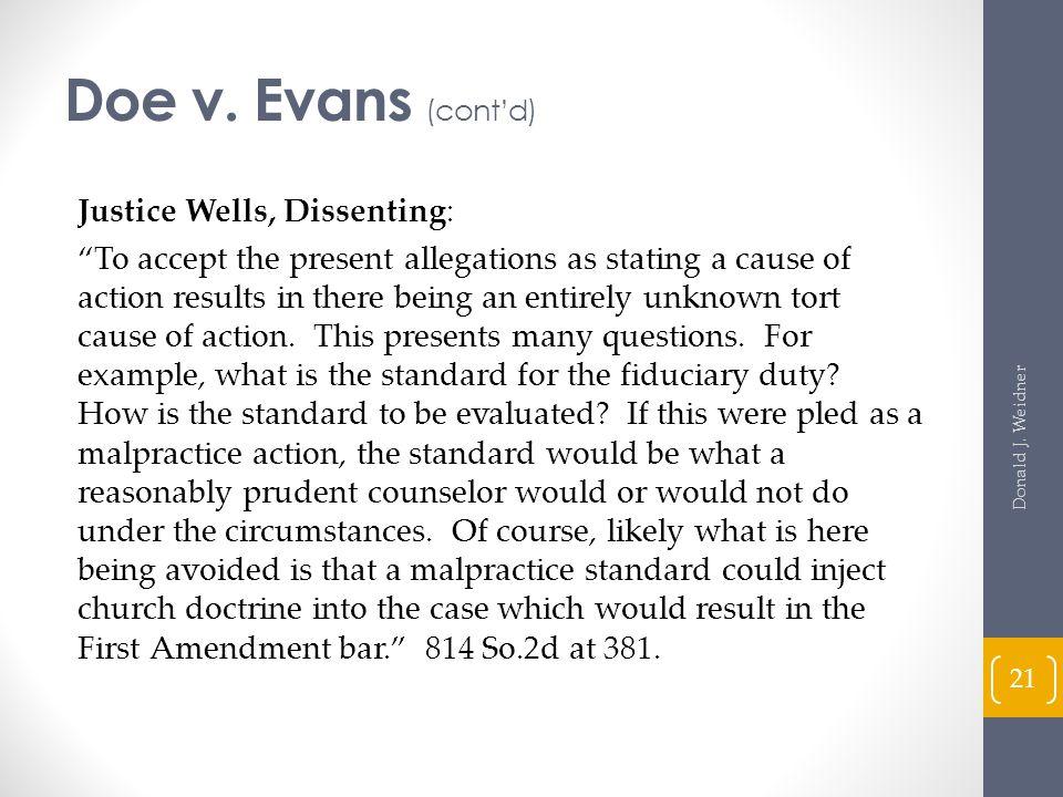 Doe v. Evans (cont'd)