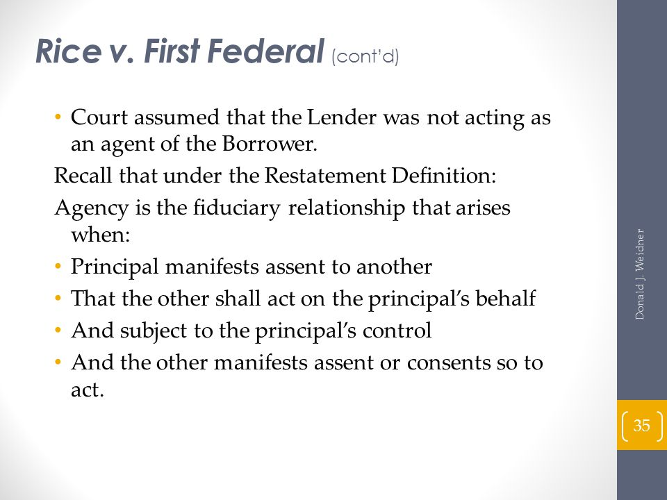 Rice v. First Federal (cont'd)