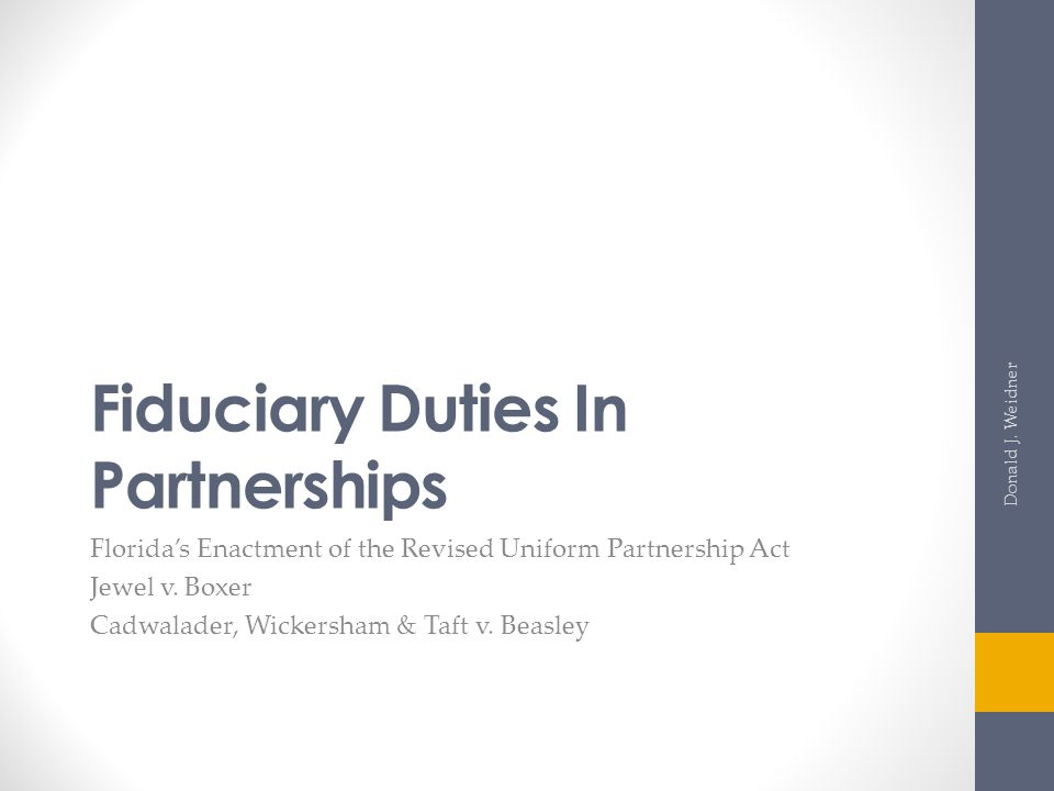 Fiduciary Duties In Partnerships