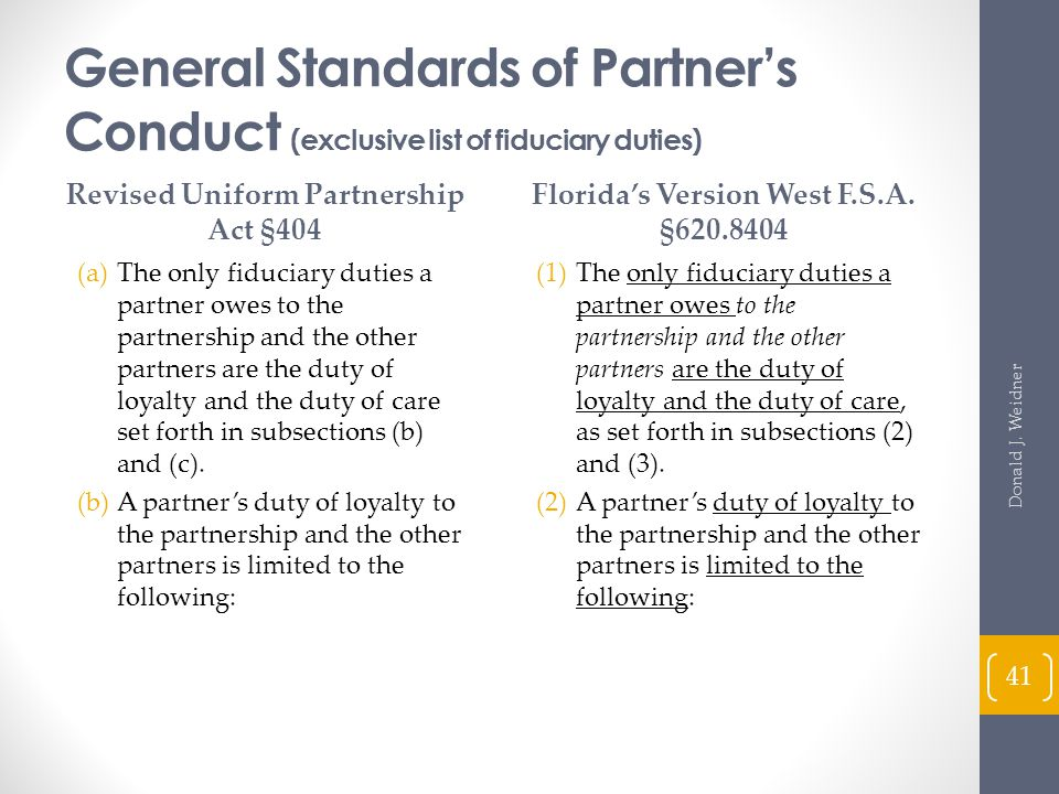 General Standards of Partner's Conduct (exclusive list of fiduciary duties)