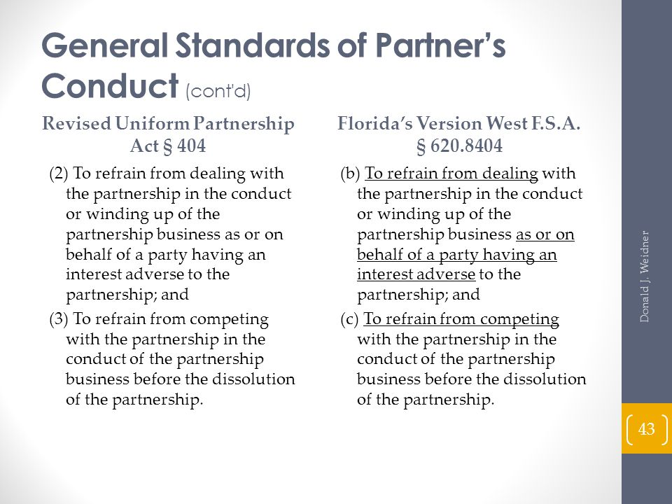 General Standards of Partner's Conduct (cont d)