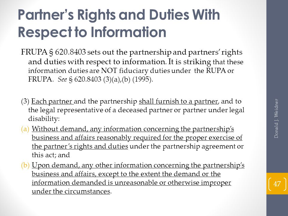 Partner's Rights and Duties With Respect to Information