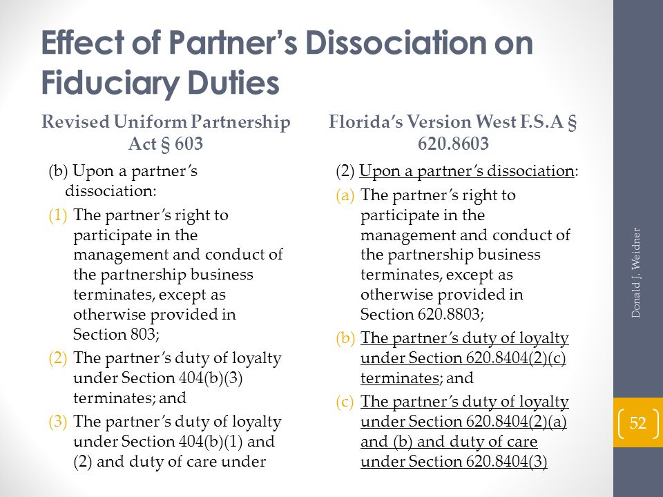 Effect of Partner's Dissociation on Fiduciary Duties