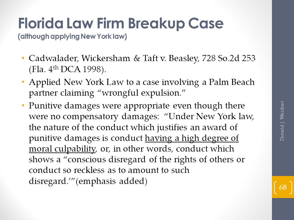 Florida Law Firm Breakup Case (although applying New York law)