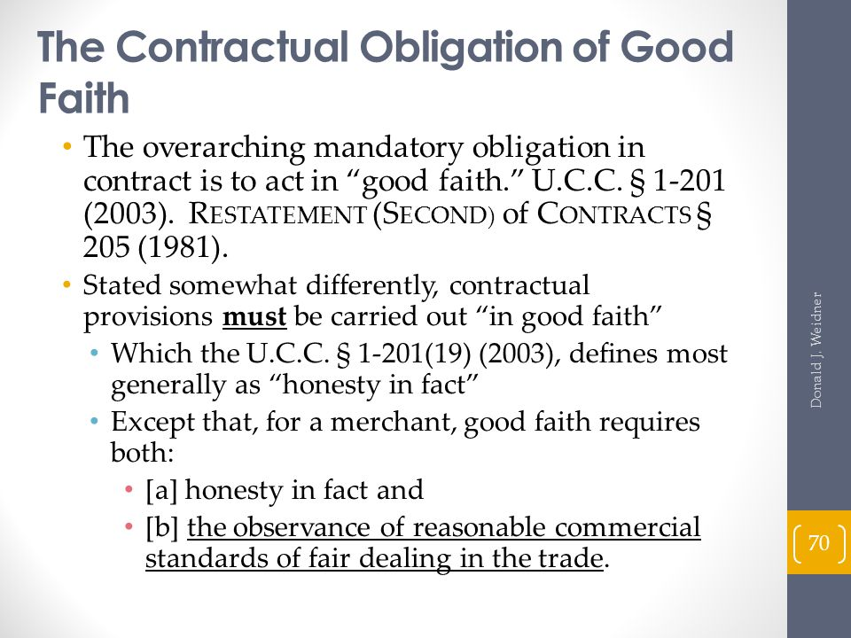 The Contractual Obligation of Good Faith