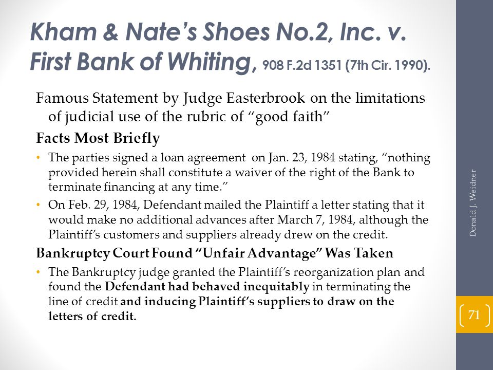 Kham & Nate's Shoes No. 2, Inc. v. First Bank of Whiting, 908 F