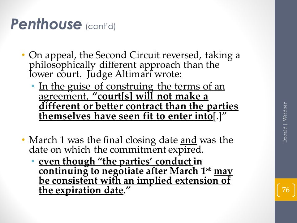 Penthouse (cont'd) On appeal, the Second Circuit reversed, taking a philosophically different approach than the lower court. Judge Altimari wrote: