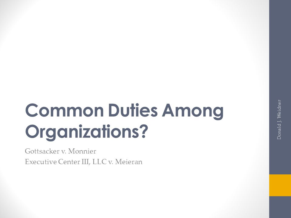 Common Duties Among Organizations