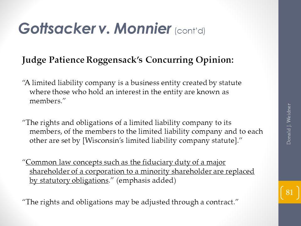 Gottsacker v. Monnier (cont'd)