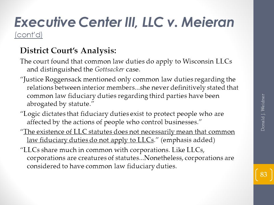 Executive Center III, LLC v. Meieran (cont'd)
