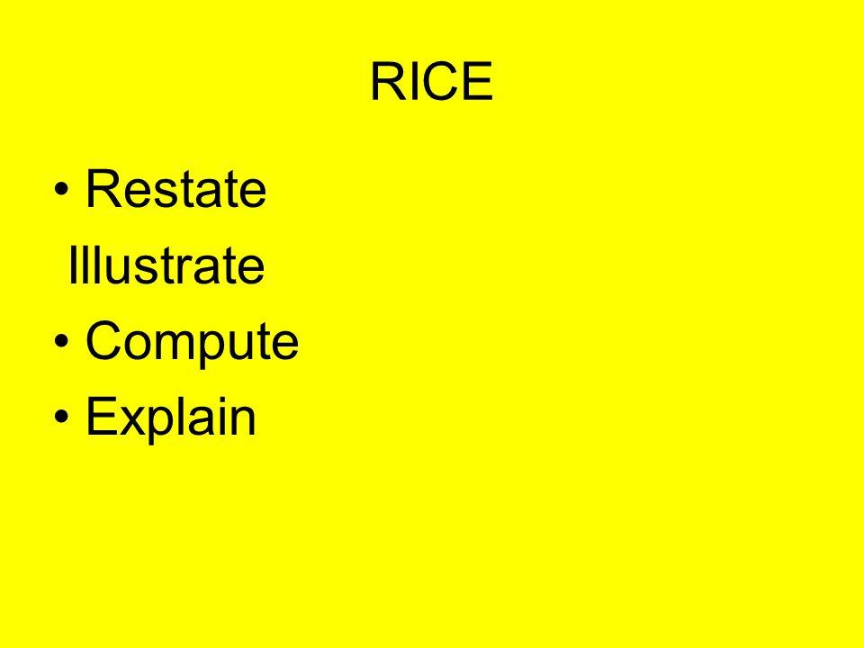 RICE Restate Illustrate Compute Explain
