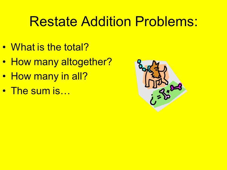 Restate Addition Problems: