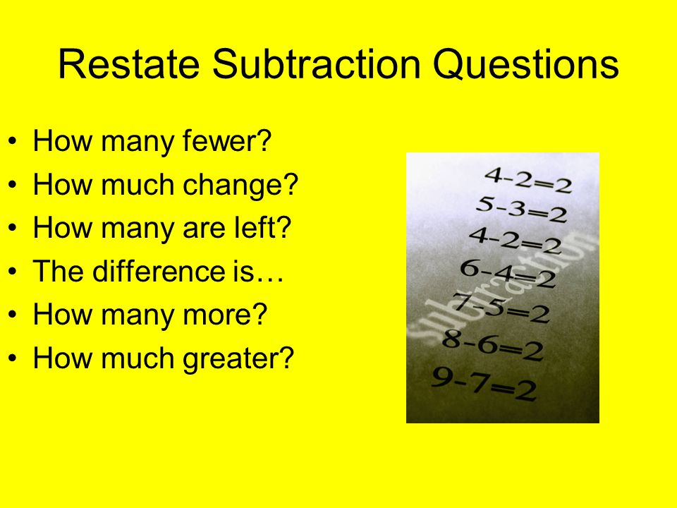 Restate Subtraction Questions