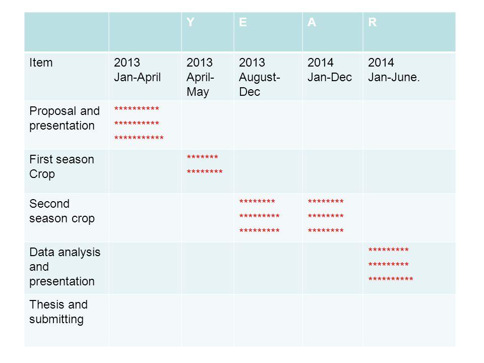 Y E. A. R. Item. 2013. Jan-April. April-May. August-Dec. 2014. Jan-Dec. Jan-June. Proposal and presentation.