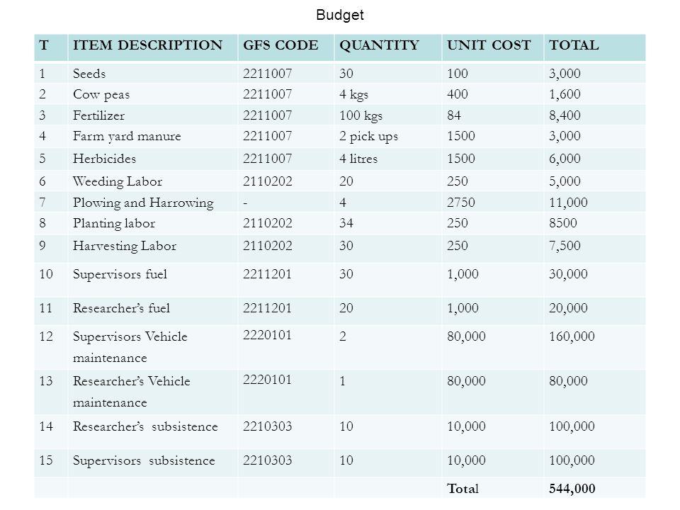 Budget T. ITEM DESCRIPTION. GFS CODE. QUANTITY. UNIT COST. TOTAL. 1. Seeds. 2211007. 30. 100.