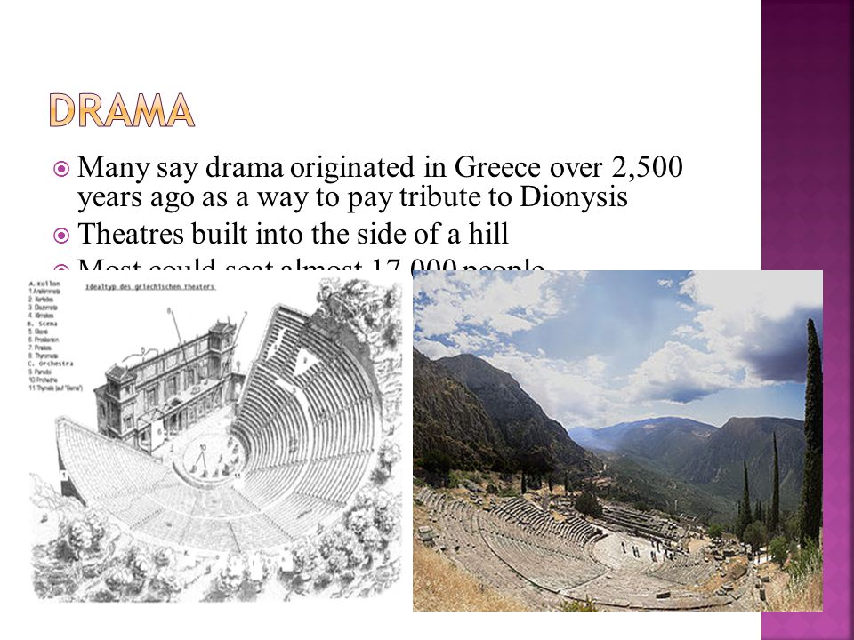 Drama Many say drama originated in Greece over 2,500 years ago as a way to pay tribute to Dionysis.