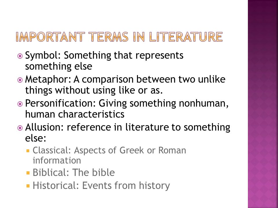 Important Terms in Literature