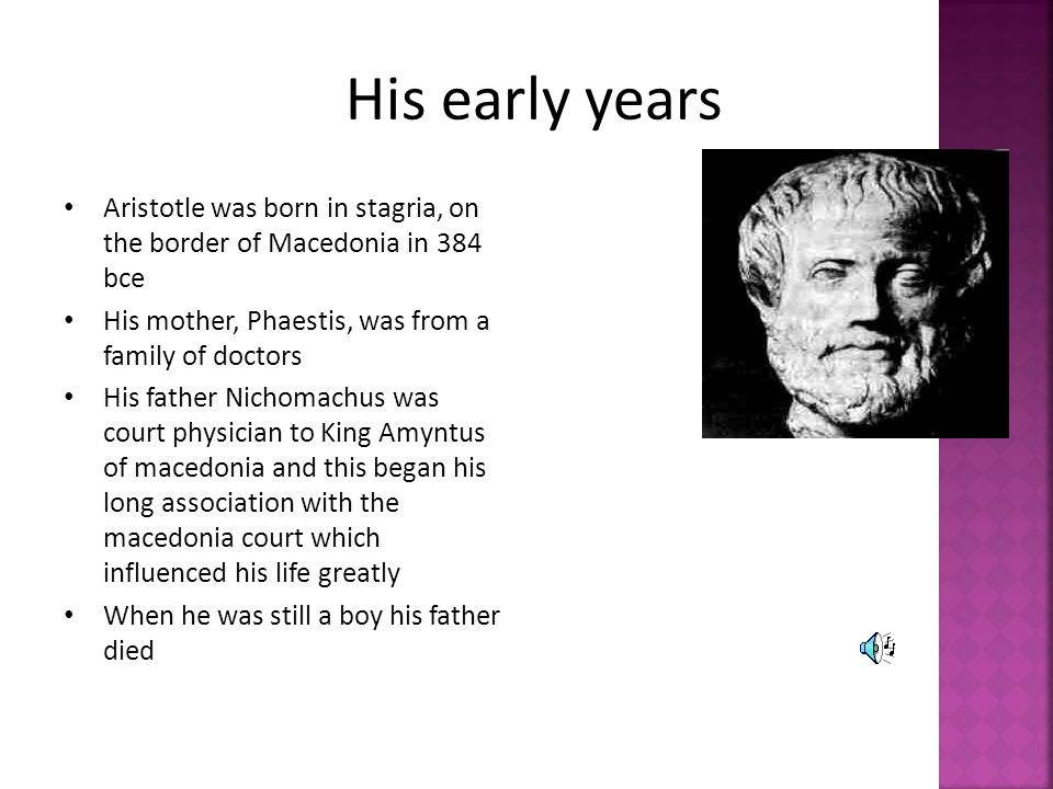 His early years Aristotle was born in stagria, on the border of Macedonia in 384 bce. His mother, Phaestis, was from a family of doctors.