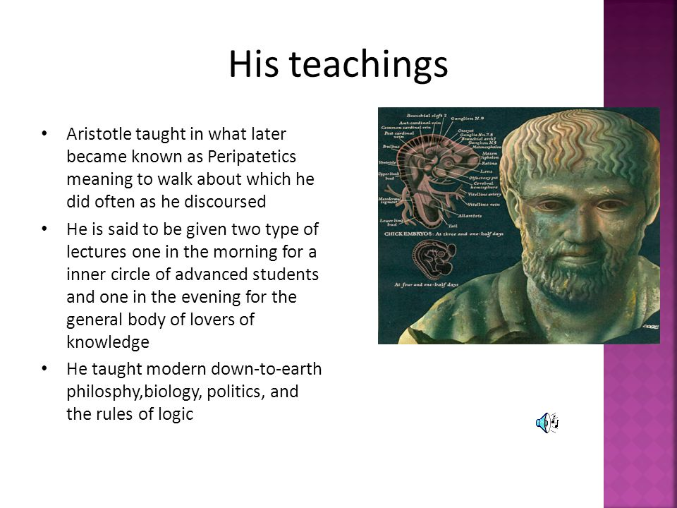 His teachings Aristotle taught in what later became known as Peripatetics meaning to walk about which he did often as he discoursed.