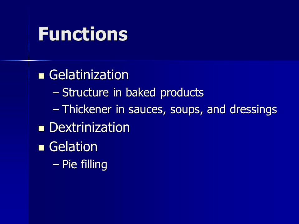Functions Gelatinization Dextrinization Gelation
