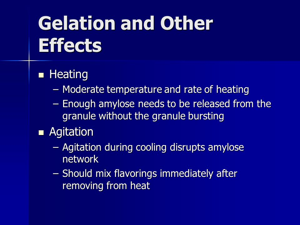 Gelation and Other Effects