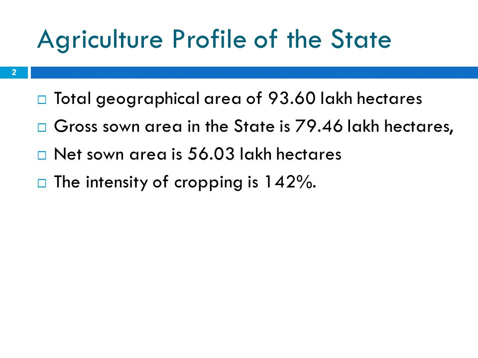 Agriculture Profile of the State