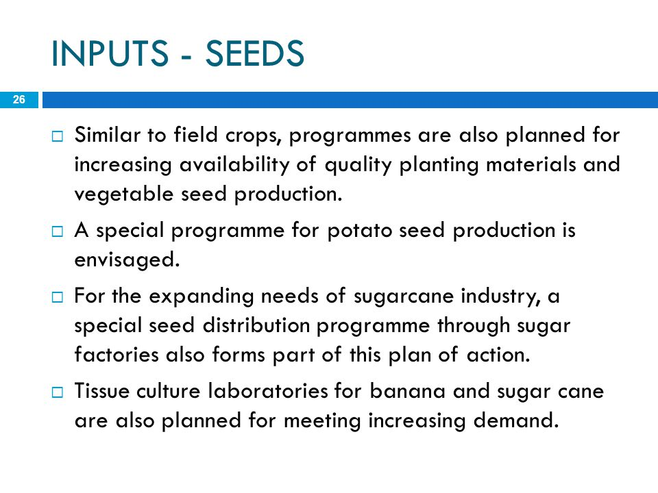 INPUTS - SEEDS