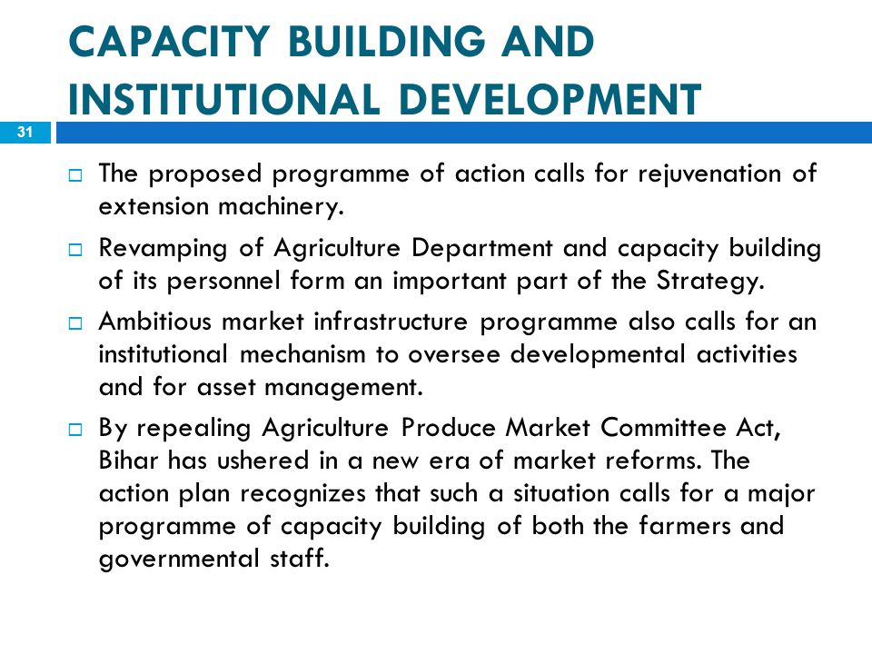 CAPACITY BUILDING AND INSTITUTIONAL DEVELOPMENT