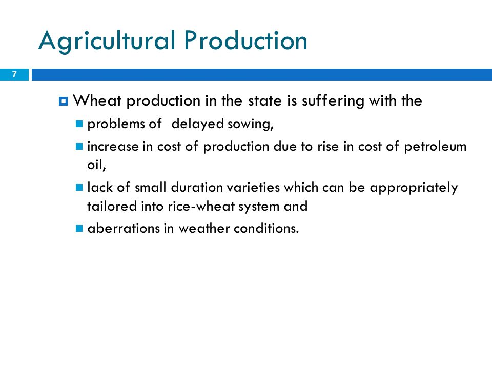 Agricultural Production